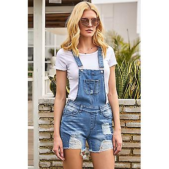 Raw Hem Ribbed Denim Overall Shorts