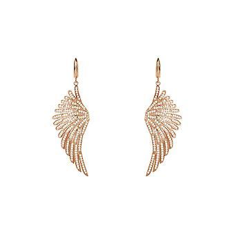 Angel Wings Large Drop Earrings Pink Rose Gold Sterling Silver  White CZ Big