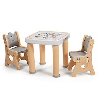 Kids Play Table & Chair Set Children Toddler Activity Study Height Adjustable