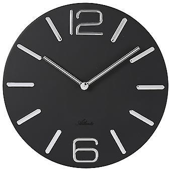 Atlanta 4512/7 Reloj de pared Cuarzo analógico metal negro redondo