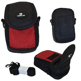 Case4life red/black soft shockproof digital camera case bag for canon powershot + elph a, sx, s seri