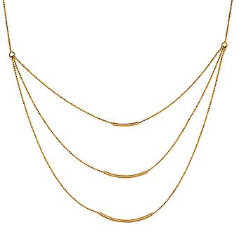 """14k Yellow Gold Triple Bar Necklace, 18"""""""