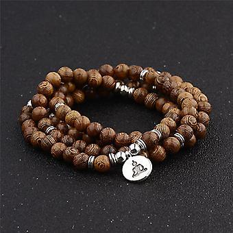 Multilayer Wood Beads, Lotus Om Bracelet, Tibetan Buddhist Mala, Buddha Charm