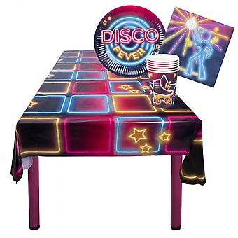 Partybord Set Disco Plate, Kopp, Servett, Duk 25 Stycken