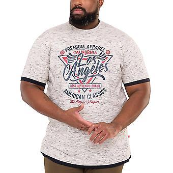 Duke D555 Mens Ellwood Big Tall King Size Los Angeles Print T-Shirt - Off White