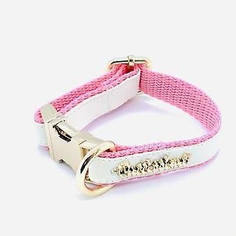 White & Pink Leather Designer Collar