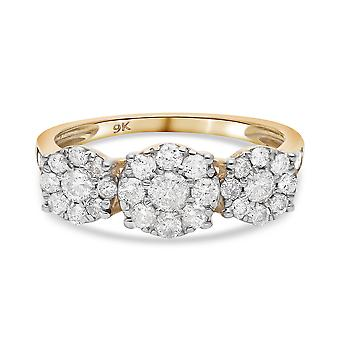 TJC Hvid Diamant I3/G-H Blomsterring 9K Gul Guld SGL Certificeret 1.08ct