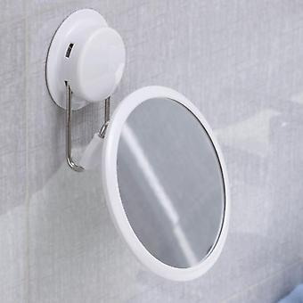 Practical easy install stainless steel cosmetic bath mirror free punch powerful suction cup make up 360 rotation detachable