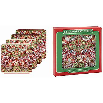 William Morris Strawberry Thief Red Set Of 4 Coasters By Lesser & Pavey