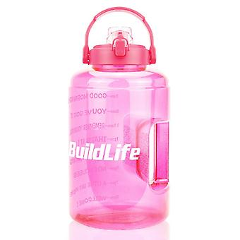 Motivational wide mouth water bottles with flip top, time marker and one click opening