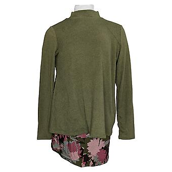 LOGO by Lori Goldstein Women's Top Mock Neck Knit & Tank Green A373326