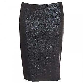 Paola Collection Navy Shimmer Fitted Pencil Skirt