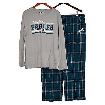 NFL Dames XXL Dames Pyjama Set met Lange Slv Top Flanel Broek Groen A387687