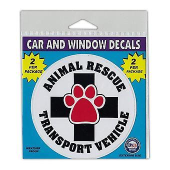 מדבקות חלון, 2 חבילות, רכב תחבורה להצלת בעלי חיים, קוטר 4 אינץ'
