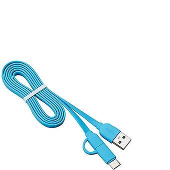 2Pcs blue usb sync/charging cable mfi usb micro & type-c az1543