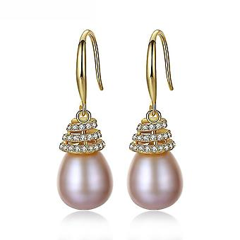 Ear Studs Purple Pearl Ornament S925 Alloy Zircon For Daily Use