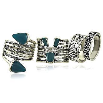 4db Retro Ring Set Nepál Fashion Paint Diamond intarziás ujj gyűrű születésnapi ajándék