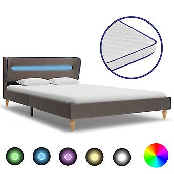 vidaXL bed with LED and memory foam mattress Taupe fabric 120×200 cm