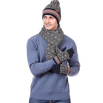3 szt Winter Hat Szalik i rękawiczki Zestaw dla mężczyzn i kobiet (BEIGE)