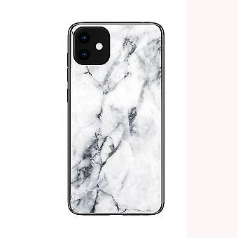 Marble Shockproof Tempered Glass Case for Apple iPhone 11 Pro Max (6.5) - White