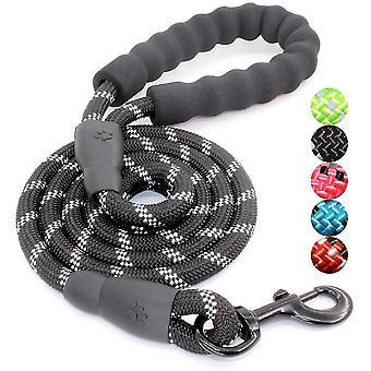 5 ft hondenriem met comfortabele gewatteerde handgreep en reflecterende draden (zwart)