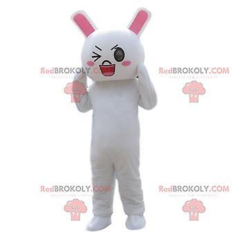 Kaninchenkostüm, Maskottchen REDBROKOLY.COM weißes Kaninchen