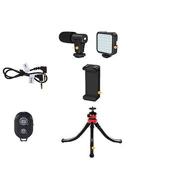 Microphone de studio professionnel pour caméra de téléphone - Vidéo Vlog avec trépied Led
