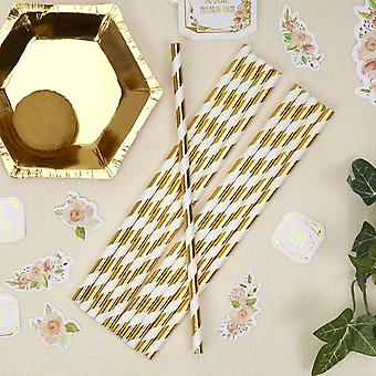 Paper Straws Stripes - Gold and White - Party - Tableware x 25