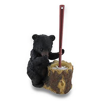 Zwarte beer Butler Toiletborstel en houder 2 delige Set