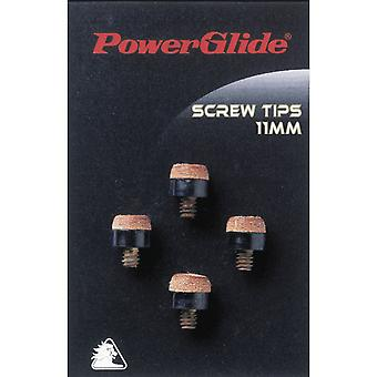 Powerglide Snooker & Allastarvikkeet 11mm Cue Screw Tips 4 Pakkaus