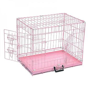 Dog Cage Pink Folding Puppy Crate Cat Carrier Dog Crate 36'' / 30''