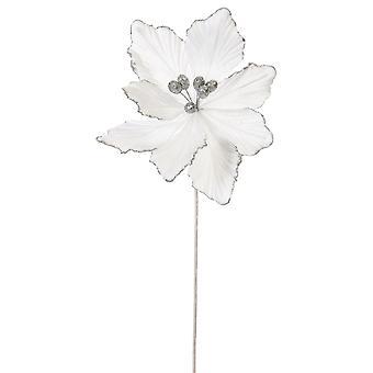 40cm White Velvet och Glitter Magnolia Stem för floristry hantverk