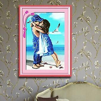 Bord de mer Cuople Cross Stitch Garçon Fille Bord de mer Baiser romantique Innocence des amis d'enfance Paysage Diamant Peinture