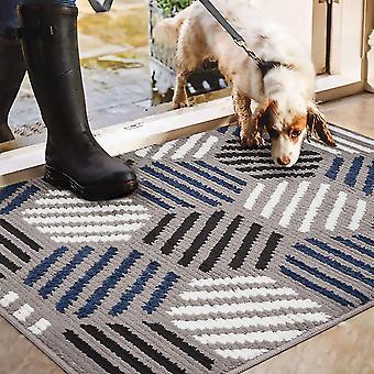 צורה גיאומטרית מחצלת דלת ללא החלקה, מחצלת רגל סופגת ביתית עמידה בפני החלקה, פנימית, חיצונית, כניסה, מדרגות, מסדרון, שטיח חצר, כחול