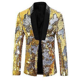 Pánské flitry květinový oblek, vřezané klopy Slim Fit Stylový sako