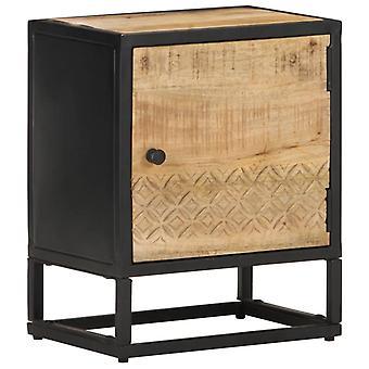 Chunhelife Nachttisch mit geschnitzter Tür 40x30x50 Cm raues Mangoholz
