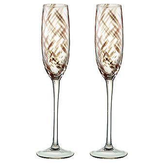 Artland mistige bronzen Champagne Flutes, Set van 2 stuks