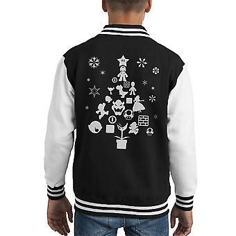 Super Mario Bros Christmas Tree Silhouette White Kid's Varsity Jacket