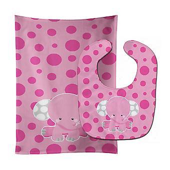 Elephant with Pink Polkadots Baby Bib & Burp Cloth