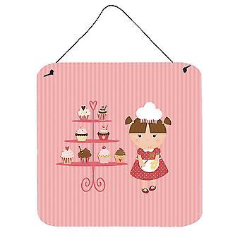 Cupcake Baker Brunette Pink Wall or Door Hanging Prints