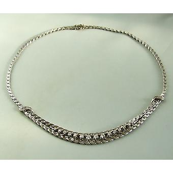 14 k white gold necklace with diamonds