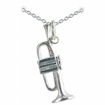 Silver 27x9mm Trumpet Pendant with a rolo Chain 24 inches