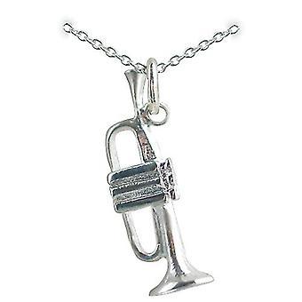 Pendentif trompette 27x9mm avec un rolo chaîne 24 pouces en argent