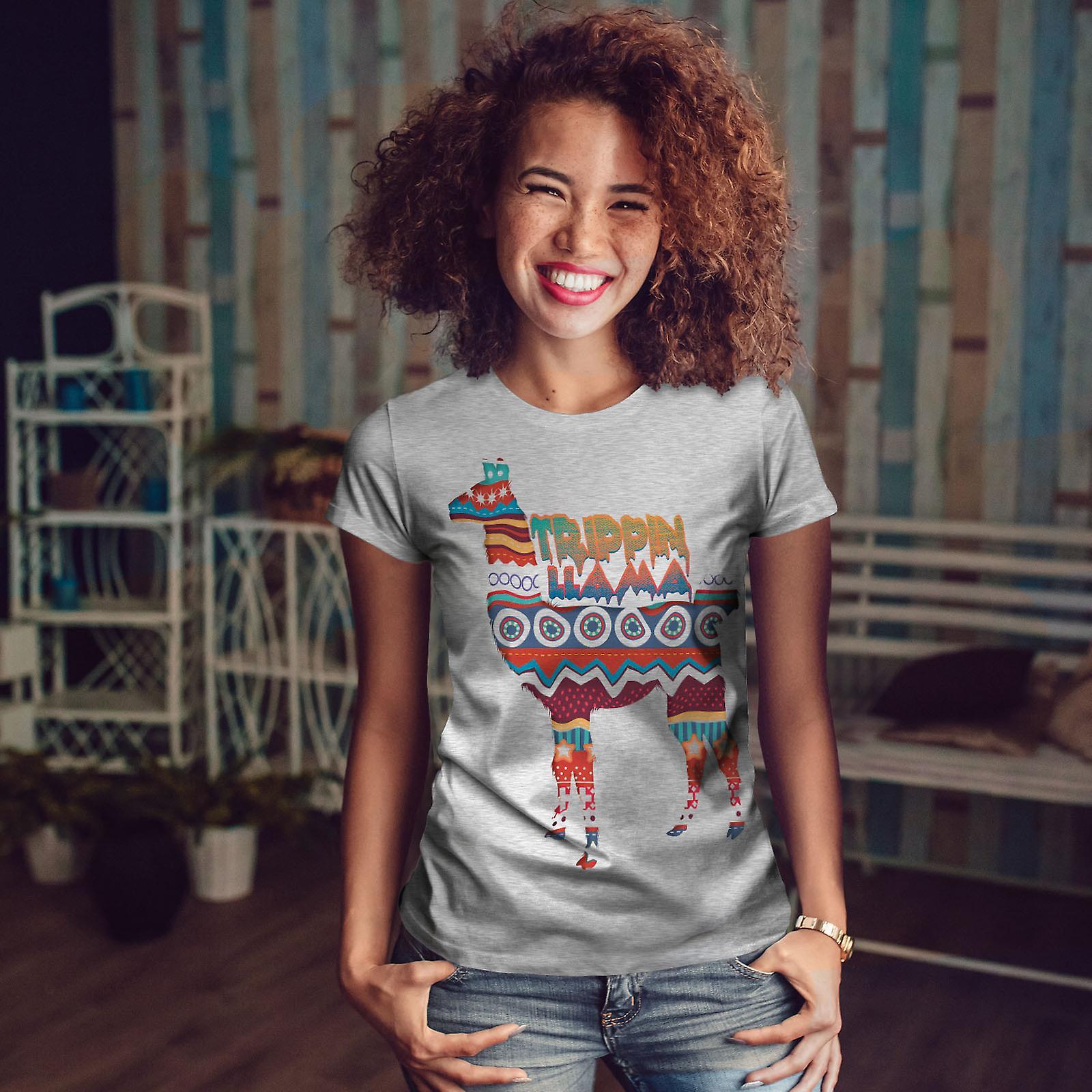 Trippin Lama rire drôle GreyT-chemise femme | Wellcoda