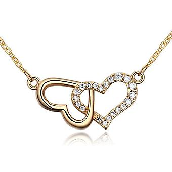 Womens Gold Beautiful Double Heart Pendant Necklace