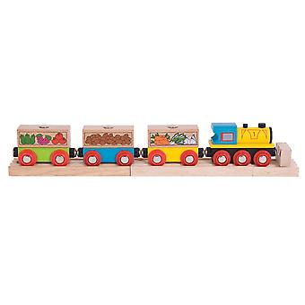 Bigjigs Rail Wooden Fruit and Veg Train Engine Locomotive Carriage Railway