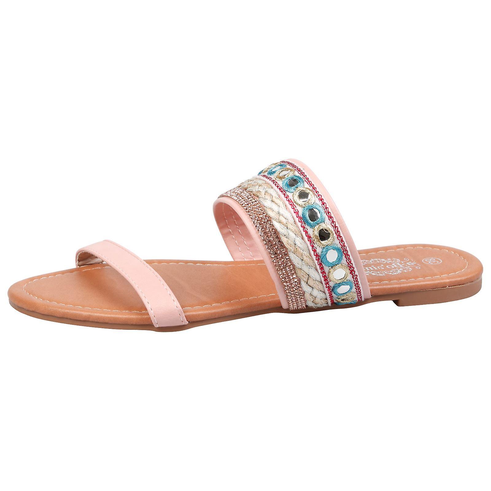 Tascha Womens Flats Diamante Embellished Slip On Sandals
