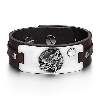 Howling Wolf Moon sauvages Courage amulette Tag blanc simulé Cats Eye Bracelet en cuir marron foncé