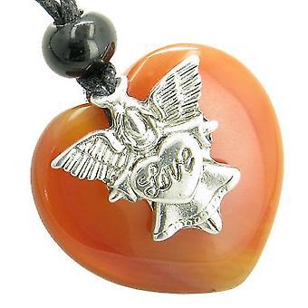 Guardian Geist Angel Love Heart Amulett bösen Blick Schutz Karneol Edelstein Anhänger Halskette