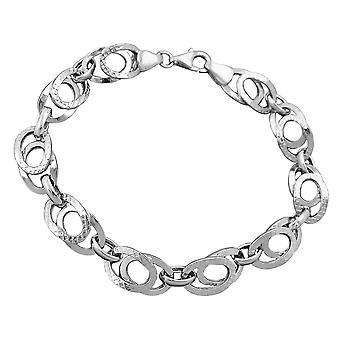 Rhodium belagt 9 mm fantasy mønster armbånd 925 sølv